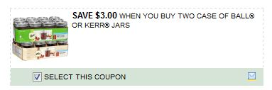 $3/2 Cases of Ball or Kerr Canning Jars Printable Coupon!!!