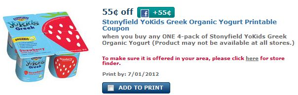 Up to $1.10 off Stonyfields YoKids Greek Yogurt