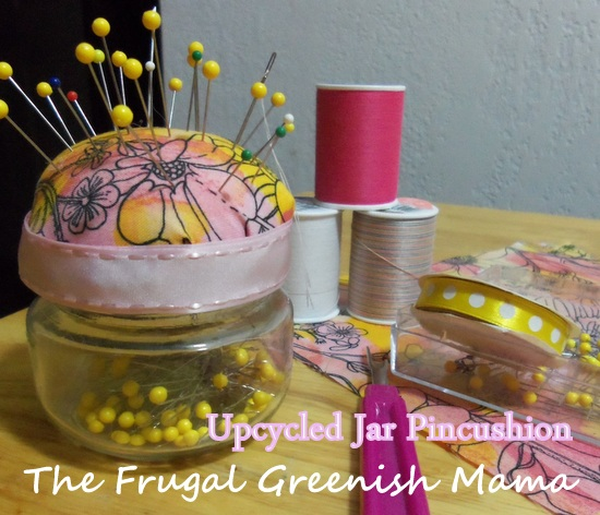 Upcycled Glass Jar Pincushion Tutorial