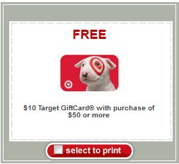 Free $10 Target Giftcard with $50 Purchase