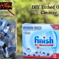 DIY Etched Glass Container {Cute Dishwasher Detergent Storage}
