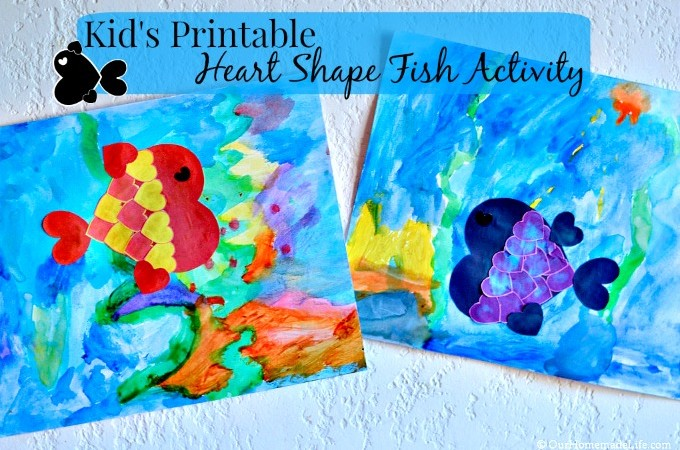 Kids heart shape fish activity printable