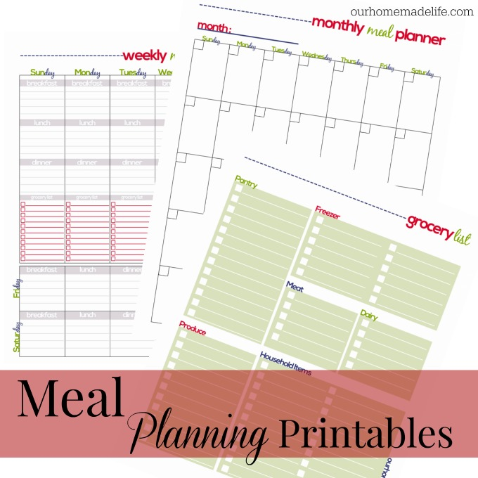 Free Printable Family Meal Planner - Our Homemade Life